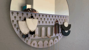 Wall Mirror Jewelry Organizer
