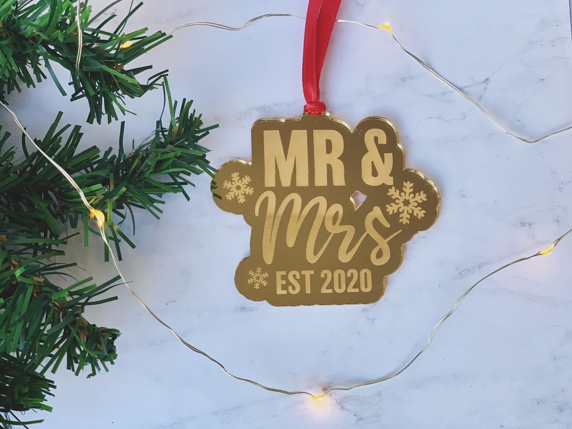 Engraved Mr & Mrs Ornament