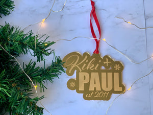 Personalized Engraved Couples Ornament