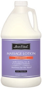 Bon Vital Original Lotion Bon Vital Original Massage Lotion is a non greasy lightweight formula specifally designed to provide extended lasting performance while maintaining needed drag. A smooth glide and satiny light texture make this the perfect product choice for all massage modalities. Enriched with Olive Oil and Herbal Botanical Extracts of Arnica, Ivy and Cucumber for  exceptional skin care benefits.  Hypoallergenic No Nut Oil Unscented Paraben Free.