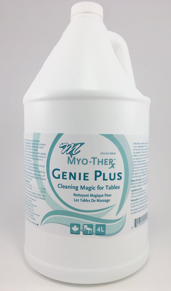 Myo-Ther Genie Plus cleans away dirt and oil from tables, and disinfects in between treatments.  It also protects the table cover by nourishing the vinyl to prevent cracking and drying.  It is suitable for the health-care industry.   Disinfects Protects Table