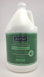 Bon Vital Organica Lotion The Bon Vital  Organica contains certified organic Jojoba, olive oil, shea butter, aloe vera and is infused with arnica and chamomile.  It is light weight, has superior glide and optimum absorption. it is earth friendly and has no greasy feel.  No Nut Oils Unscented Paraben Free