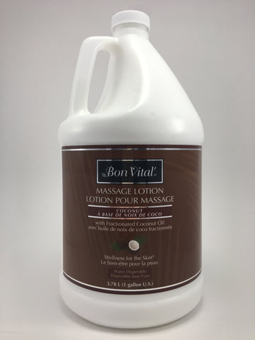 Bon Vital Fractionated Coconut Lotion The Bon Vital coconut line is one of the more popular selling products.  It is made with Fractionated Coconut Oil, it is a unscented, light weight, controlled glide, and no greasy feeling.  It is wellness for the skin.  Available in lotion, gel and oil.  Unscented Paraben free  No Nut oils