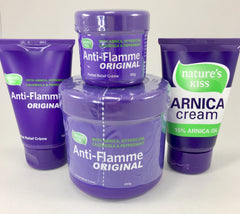 Anti-Flamme Creme Anti-Flamme Original is a Herbal Relief Creme that contains Arnica, Hypericum, Calendula and Peppermint.  Ideal for use during massage to help increase treatment effectiveness or for client care for in  home use.  Applies with ease and is non-greasy.  Has a light, pleasant scent.  NATURAL pain relief, herbal.