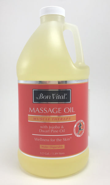 Bon Vital Muscle Therapy Oil The Bon Vital Muscle Therapy is enriched with Dwarf Pine, Jojoba and Oilve Oils as well as a blend of Eucalyptus, Rosemary, and Chamomile. Ideal for deep tissue and sports massage as well as trigger point therapy.  Great for muscle aches and pains.  Wellness for the skin and the muscles. available in lotion and oil.