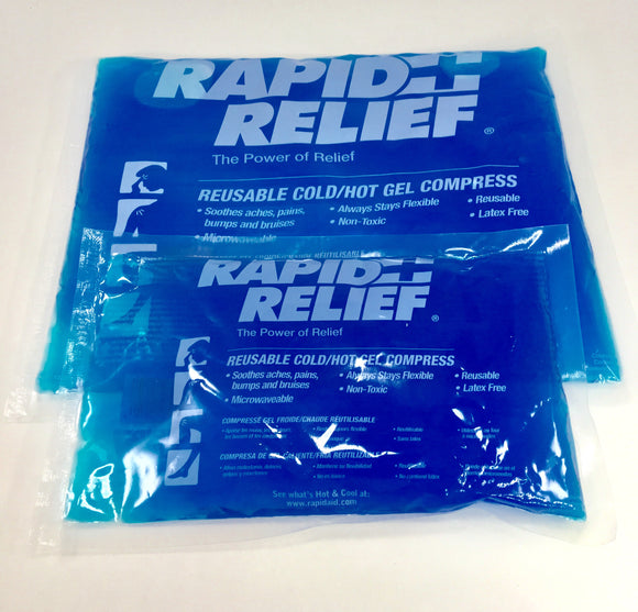 Rapid Relief reusable hot/cold gel packs are great for  pain relief, muscle tension, chronic aches, bumps and bruises.  They are great for clinical use and for client home care.  They can be heated in the microwave or put in the fridge or freezer.