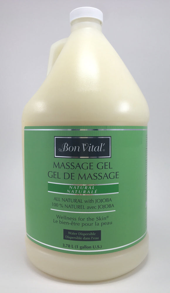 Bon Vital Naturale Gel An all natural line enriched with Botanical Extracts of Sea Algae and Green Tea with a jojoba base.  It is light and has a lasting glide and it will leave the skin feeling silky smooth.  It is water dispersible and easy to clean up.  Unscented Nut Free Paraben free
