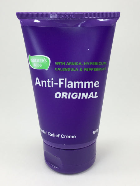 Anti-Flamme Original is a Herbal Relief Creme that contains Arnica, Hypericum, Calendula and Peppermint.  Ideal for use during massage to help increase treatment effectiveness or for client care for in  home use.  Applies with ease and is non-greasy.  Has a light, pleasant scent.  NATURAL pain relief, herbal.