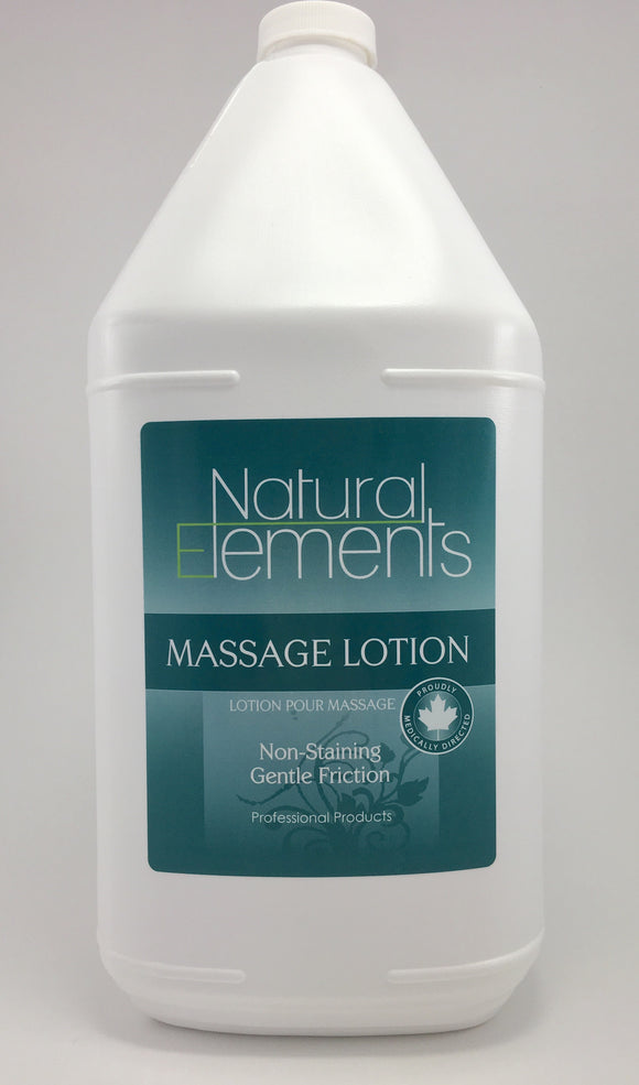 Natural Elements Lotion moisturizes the skin and does not leave an oily residue.  It is water soluble and absorbs into the skin.  It is ideal for deep tissue massage and offers gentle friction.  It is non-staining and cleans up nicely.  It is Canadian made.