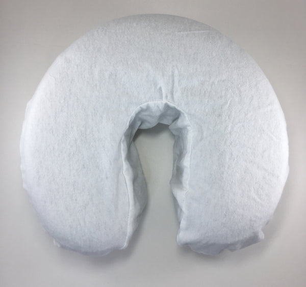 Face Cradle Cover Flannel Our fitted flannel face cradles are designed without an elastic around the inner crescent for max comfort.   The outer part does have the elastic to ensure the cradle cover stays on and does not move around. Available white or natural.