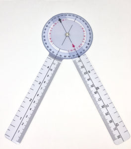 Goniometer Plastic 8inch Our 8 Inch Plastic, transparent goniometer is used in all sorts of clinical settings to measure range of motion at a specific joint.  It can be used to measure active and passive range of motion to actively tract progression in rehabilitation.