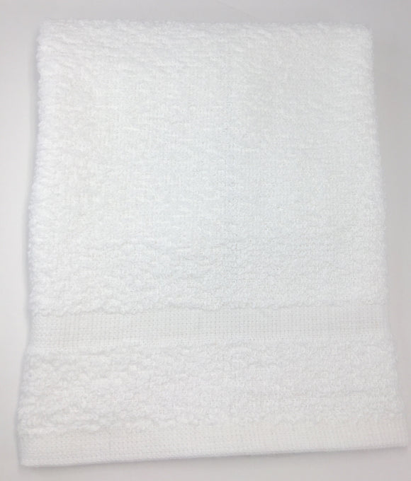 Face Cloth cotton/poly 12X12 Our white cotton/poly face cloths are an every day need in a busy massage clinic, spa or clinical setting.  They work really well in a hot towel warmer, in hydrotherapy treatments (barrier under a small ice or heat pack), or handy for client use for various things.  size 12 x 12