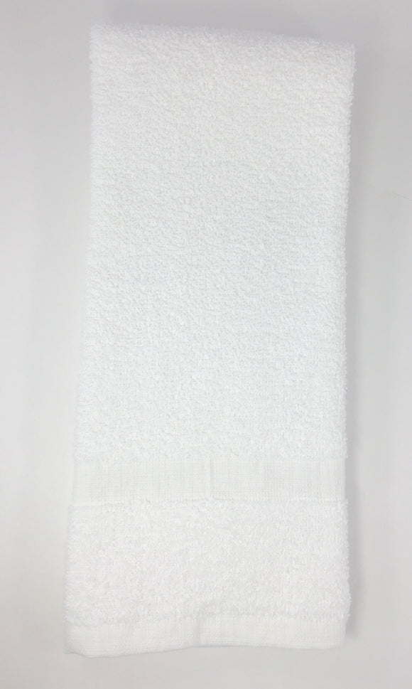 Hand Towel- White Our cotton hand towels are an essential supply to any clinic or spa.  They are light weight and clean up nicely, and are comfortably soft.  They are a great value!  White 16 x 27, 3lb