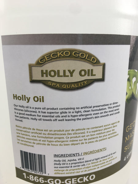 Gecko Gold Holly Oil Holly oil contains no artificial preservatives or silicones.  It is  clean and light mixture and has a great glide.  Holly oil is also a great base for essential oils.  Holly oil is hypo-allergenic, wipes off easy leaving the clients skill smooth and conditioned.