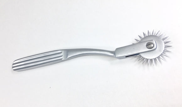 stainless steel Wartenberg pinwheel is used for neurological assessment and is designed to test nerve reactions as the spikes roll across the skin.