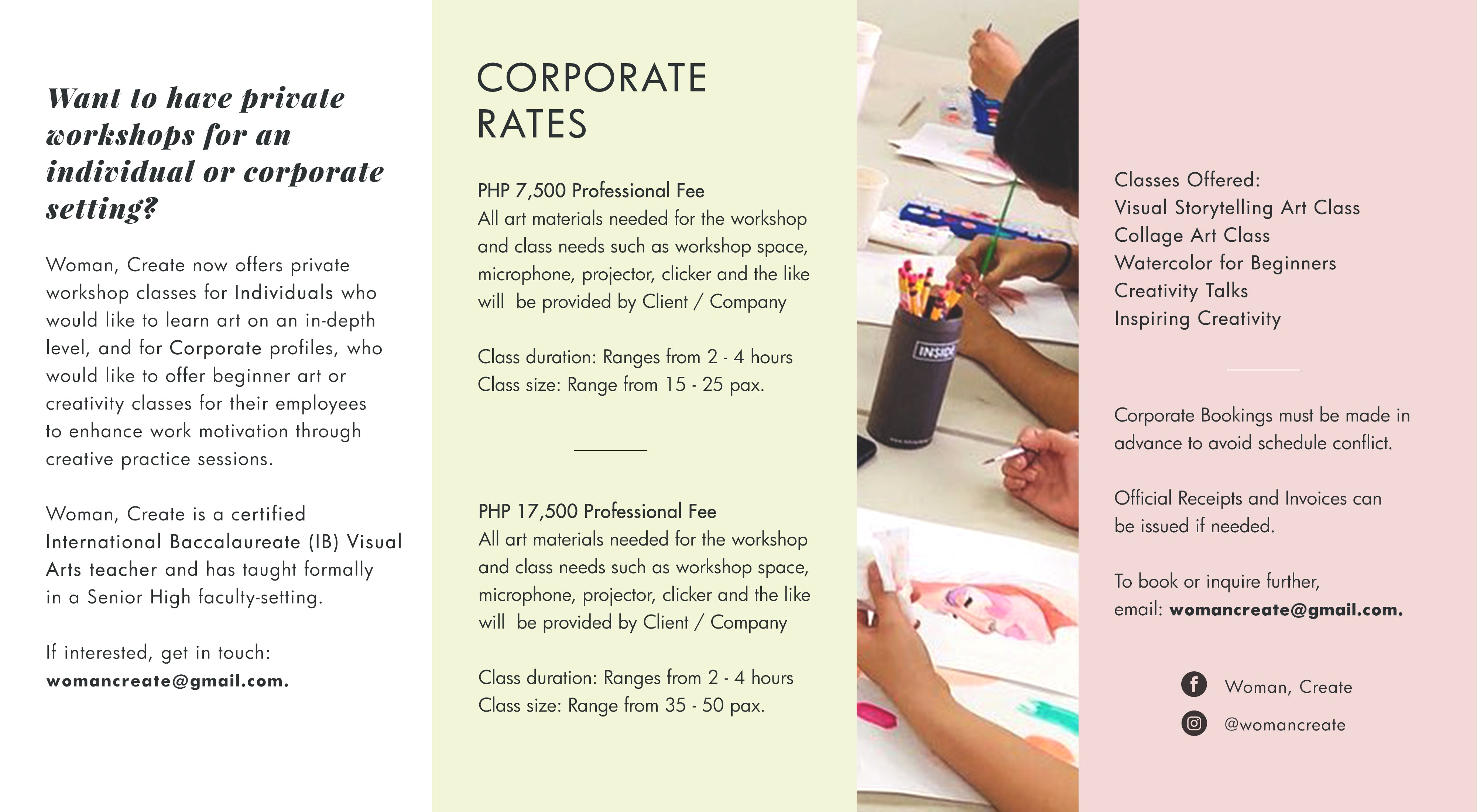 Woman Create corporate packages