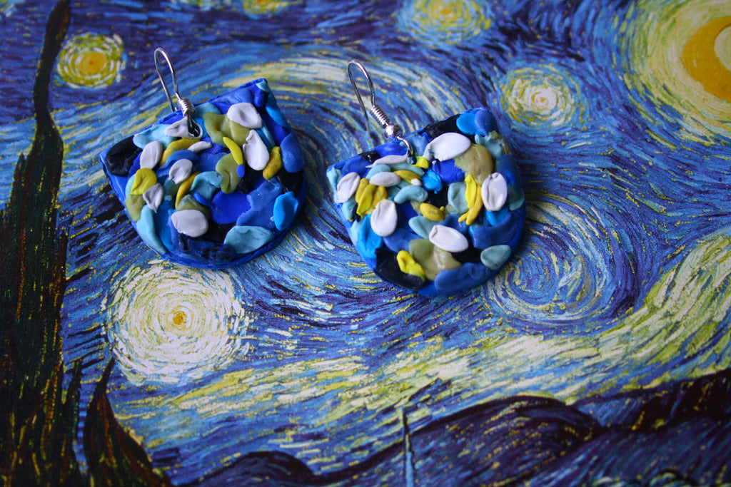 Starry Night Impasto Strokes earrings