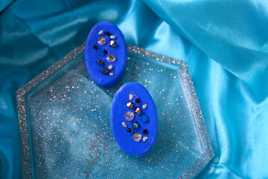 Crystal and Beads on Blue Oval studs