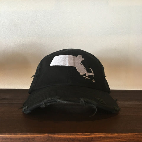 "RudeBoyy ""Massachusetts"" Distressed Look Strapback Cap/Dad Hat"