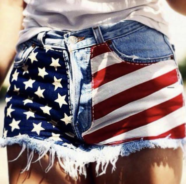 American Girl Flag High Waisted Babe Shorts