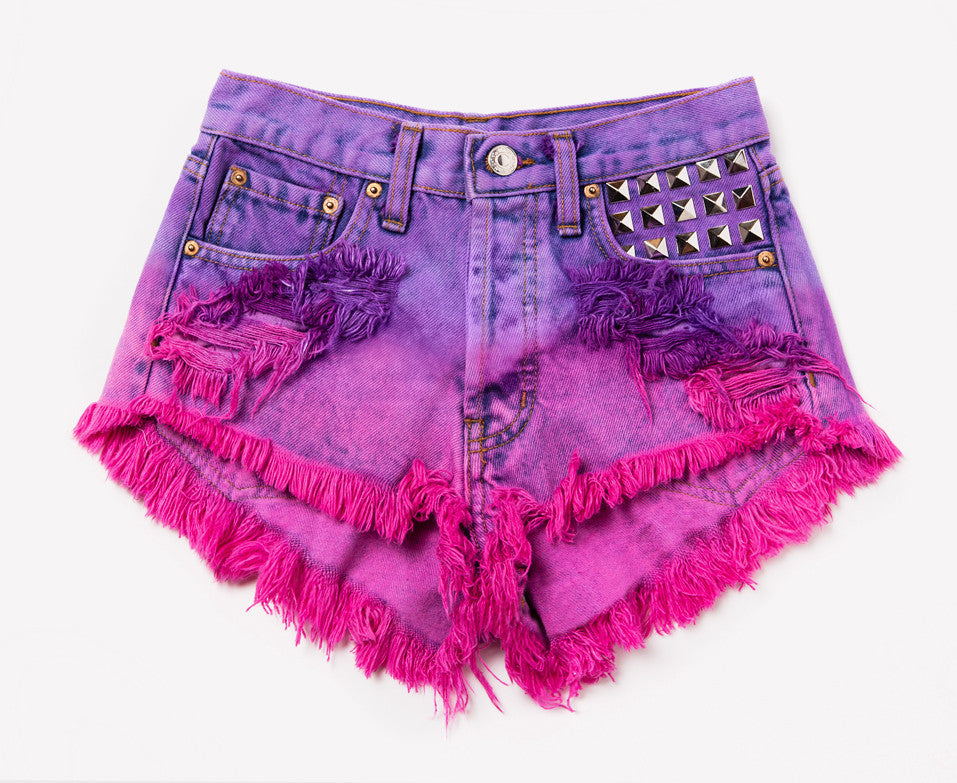 Britney Hand Dyed Studded Vintage Shorts