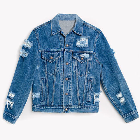 Hand Distressed Vintage Denim Jacket