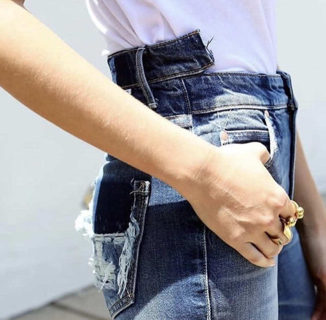 Double Waistband Destroyed Vintage High Waisted Jeans