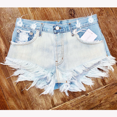 Fiji Two Tone Cut Off High Waisted Babe Shorts