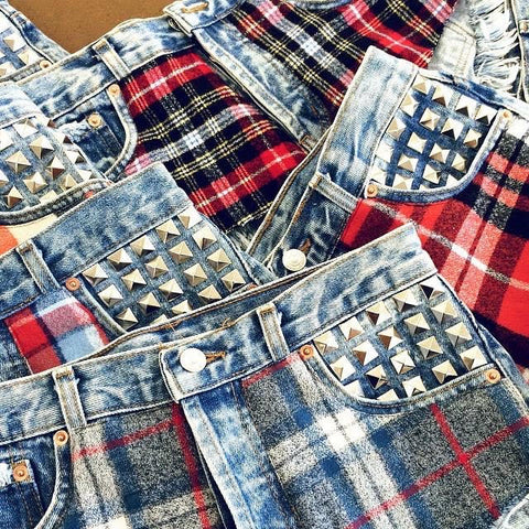 Maddox Flannel Studded Babe Shorts