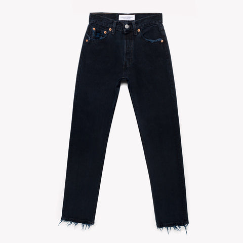 Black High Rise Vintage Straight Jeans