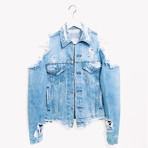 Vintage One a Kind Cold Shoulder Jean Denim Jacket
