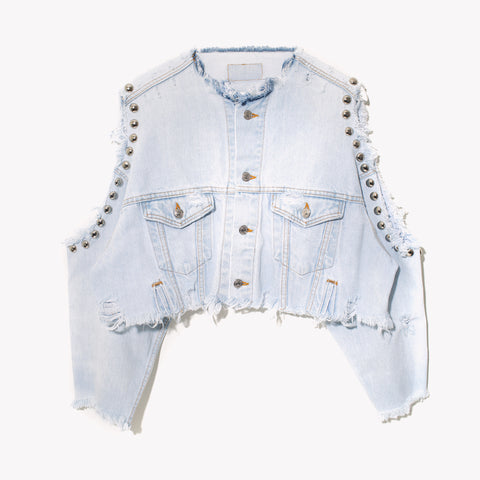 RWDZ Cold Shoulder Studded Pale Denim Jacket