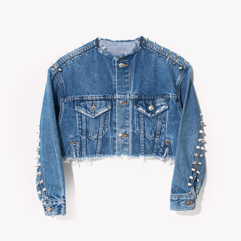 RWDZ ICON Cropped Studded Denim Jacket