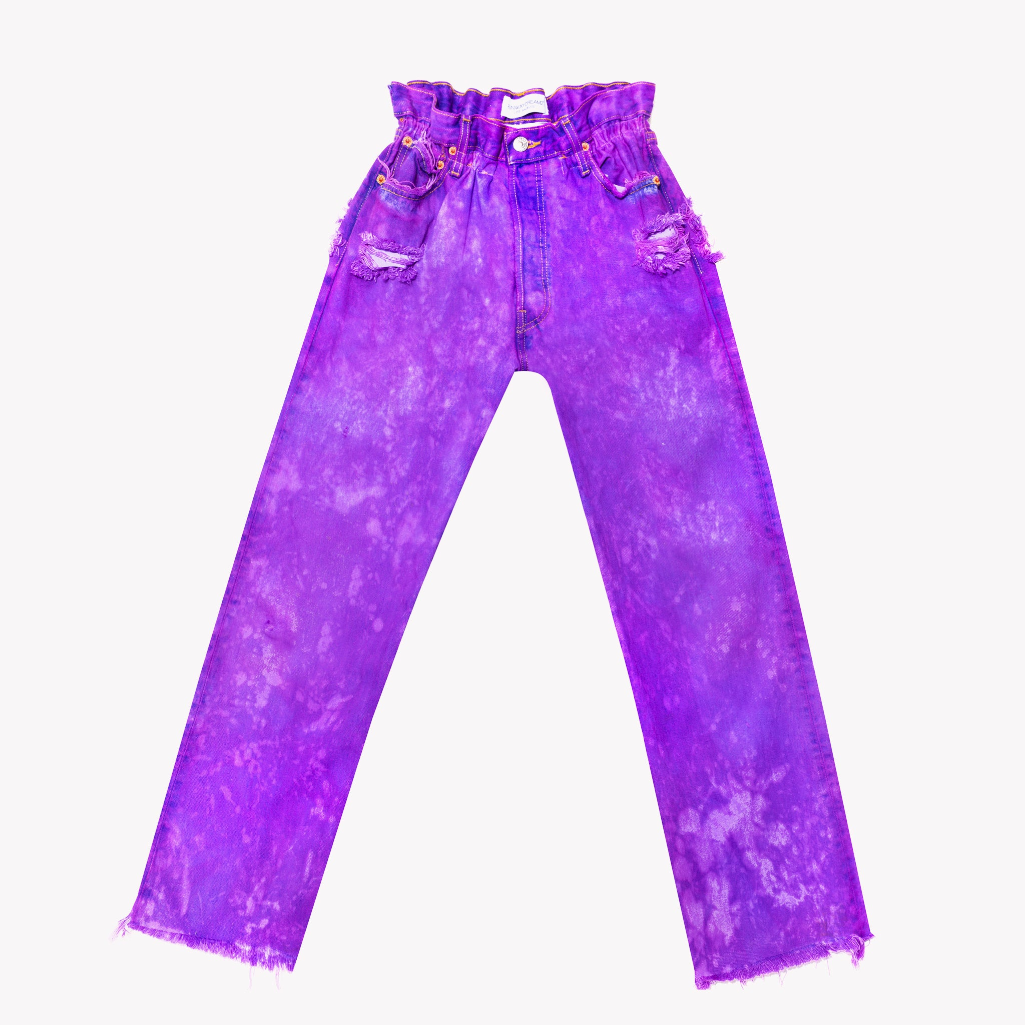Boho Purple Clouds Vintage High Waisted Jeans