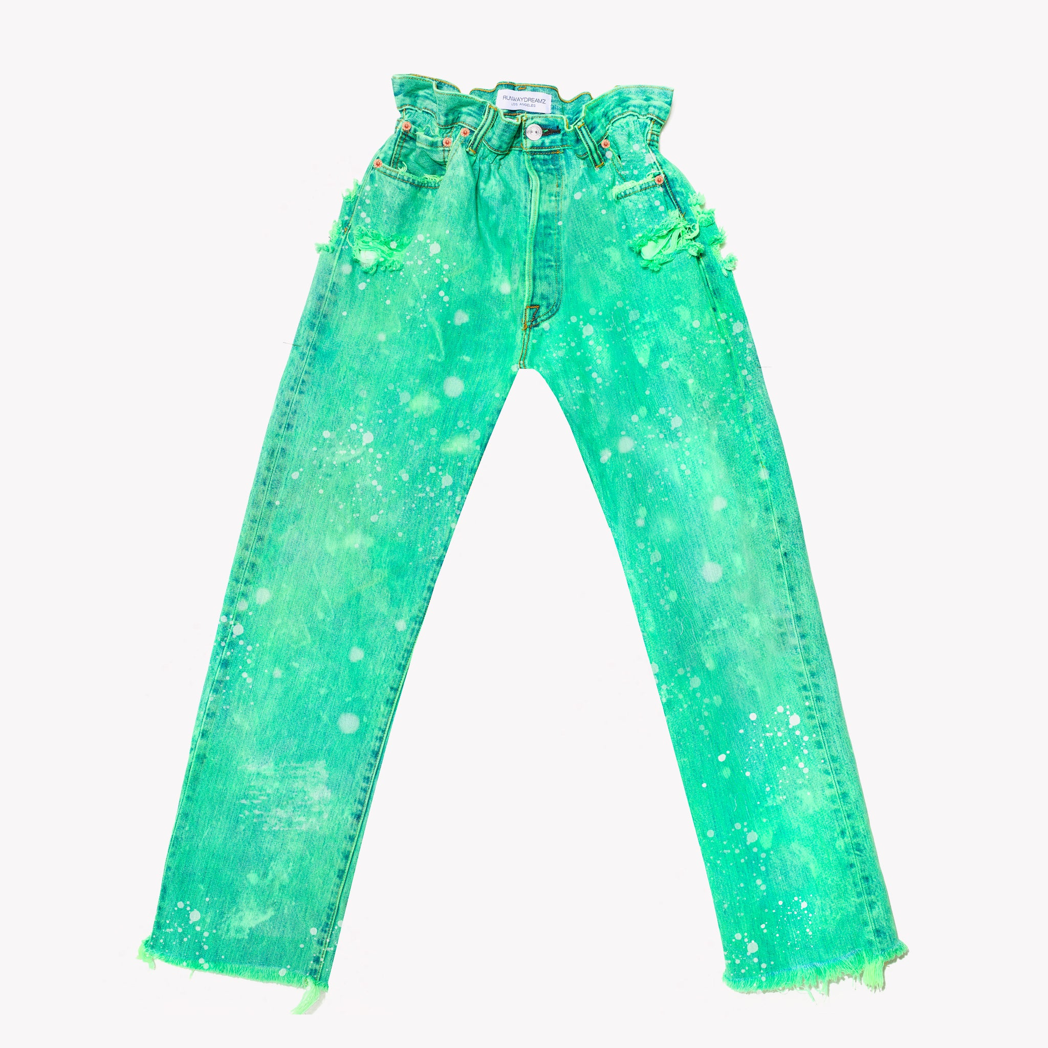 Boho Neon Clouds Vintage High Waisted Jeans