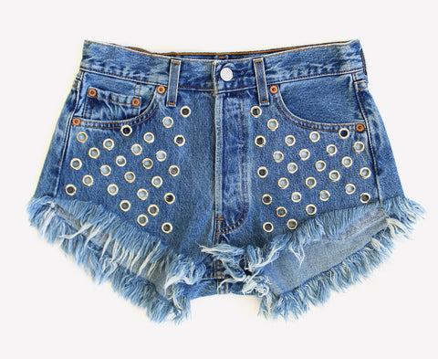 Perfect for Summer Cute Shorts Studded Vintage High Waisted Shorts Runwaydreamz Fashion Bloggers Favorite Vintage Stonewash Eyelet