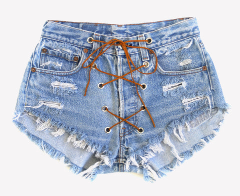 Rodeo Lace Up Stonewash Vintage Shorts
