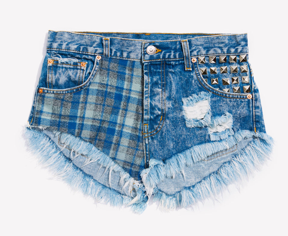 Ozzy Flannel Studded Babe Shorts