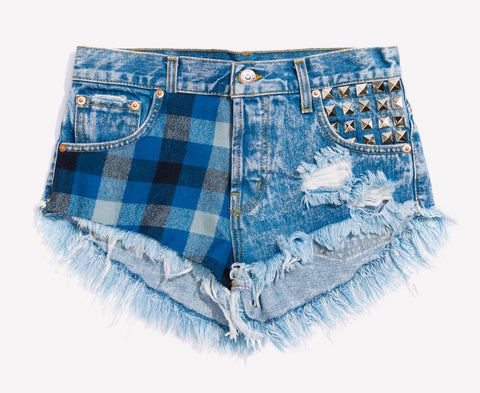 Zeppelin Flannel Studded Babe Shorts