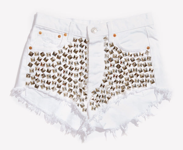 Wunderlust White Studded Cheeky Shorts