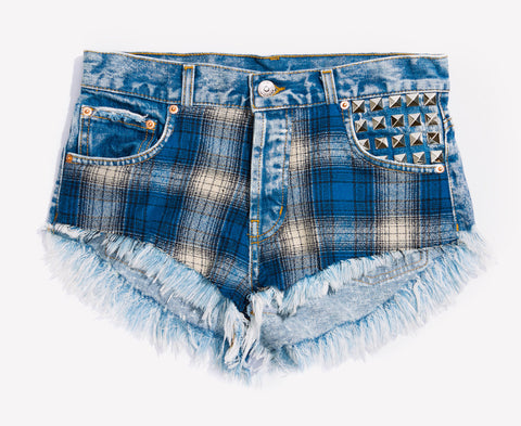 Cobain Flannel Studded Babe Shorts
