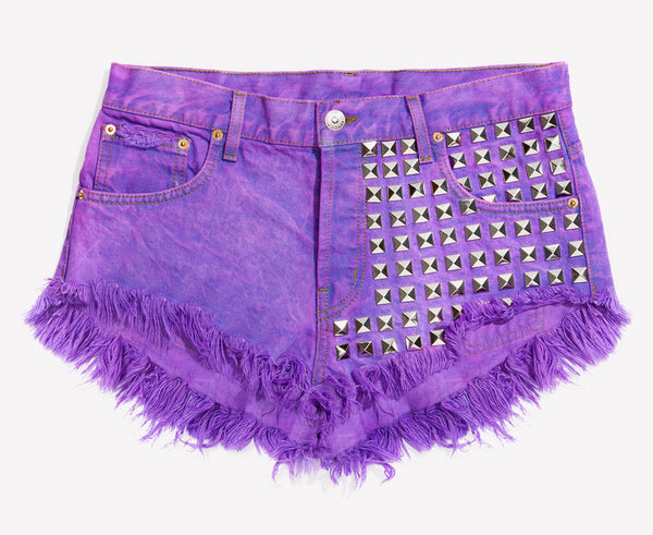 902 Purple Studded Babe Shorts - Limited