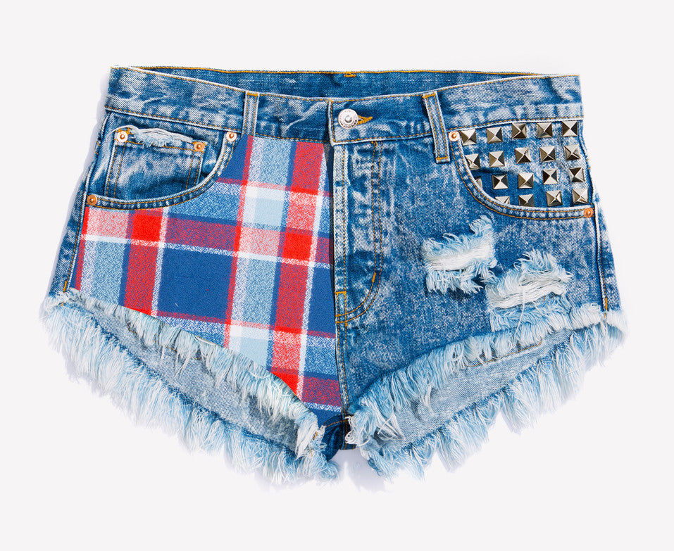 Bowie Flannel Studded Babe Shorts