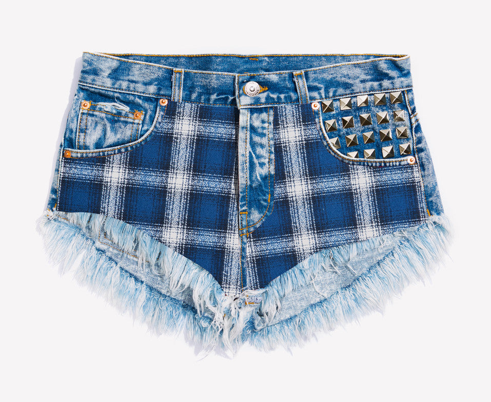 Axel Flannel Studded Babe Shorts