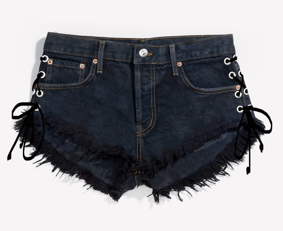 Lace Up Black Babe Cut Off Shorts