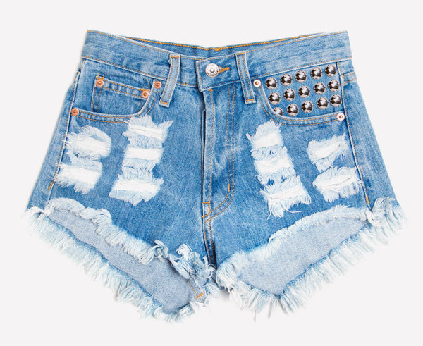 450 Stone Studded High Waist Shorts