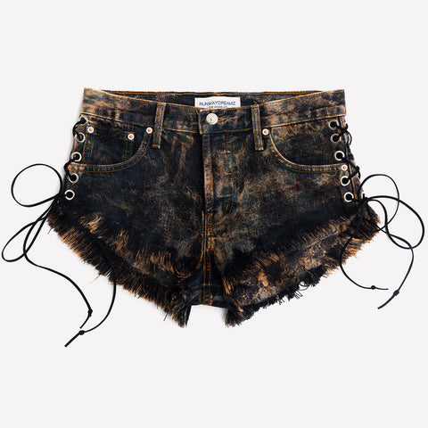 Lace Up Bronzed Acid Babe Shorts