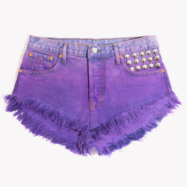 450 Grape Ombre Studded Babe Shorts