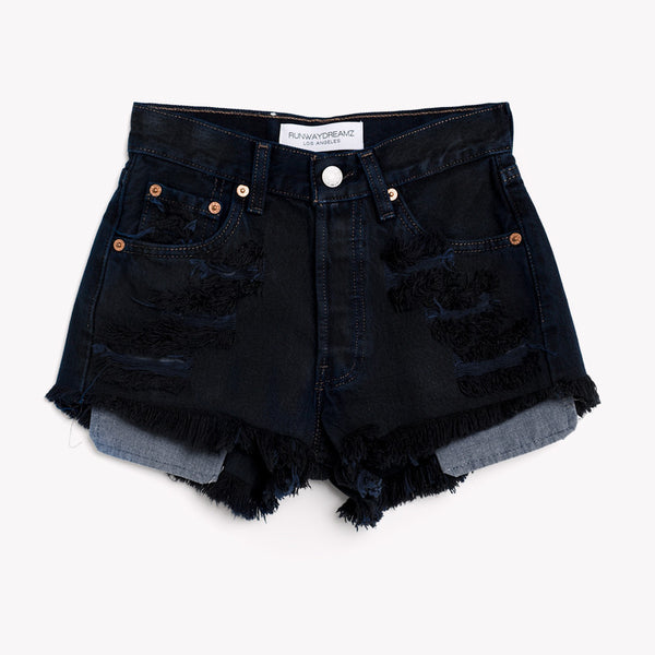High Rise Vintage Black Levis Icon Shorts