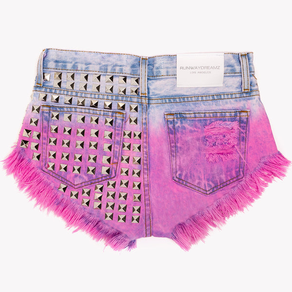 Dangers Rose Ombre Studded Babe Shorts